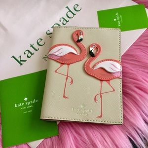 Kate Spade Flamingo Passport Holder Case Bifold
